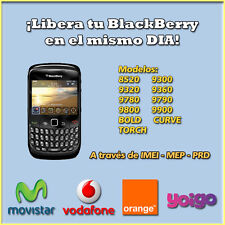 Liberar BlackBerry IMEI 8520 9300 9320 9360 9780 9790 9800 9900 BOLD CURVE TORCH
