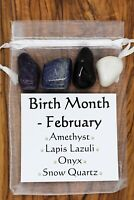 Birth Month February Crystal Gift Set Amethyst Onyx Snow Quartz Lapis Lazuli