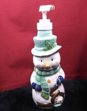 "9"" ceramic Snowman Holiday Xmas Lotion Soap Dispenser Bottle Bathroom / Kitchen"