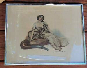 Antique James Montgomery Flagg Tobacco Ad Art Framed Flapper Lady & Pipe