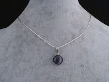 Amethyst 12 mm Cabochon, 925 Silver Chain Necklace.Handmade In Gift Bag