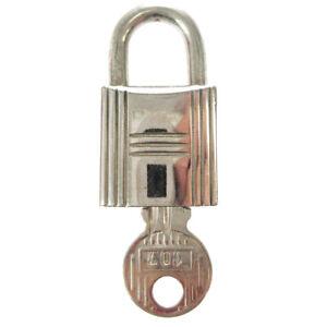HERMES Set of Padlock & Key Cadena Silver-Tone Bag Accessories Charm 00347
