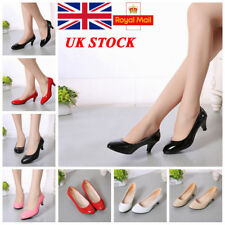 UK Women Lady Mid Kitten Heel Pumps Pointed Toe Slip On Office Court Shoes Size