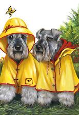 """Precious Pets Garden Flag - Schnauzer Rain Gear 12"""" x 18"""" ~ Charity!"""