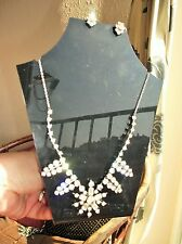 Sparkle Deco Look Diamante Paste Stones Elegant Vintage Clip Earrings & Necklace
