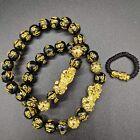 Feng Shui Black Obsidian Beads Bracelet Attract Wealth/ Good Luck Pixiu Bracelet
