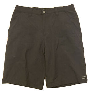 "Oakley Control Golf Shorts Flat Front Men's Sz 34 11"" Black"