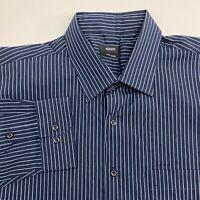 Alfani Button Up Shirt Mens XXL Blue Stripe Long Sleeve Casual