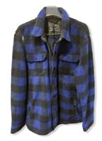 Levi's Buffalo Plaid Blue Fleece Snap Button Hunting Coat Jacket Men's Large NWT