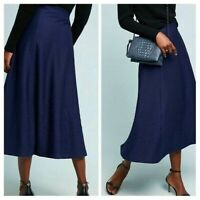Anthropologie Maeve Womens Skirt Size XL Blue Maria Knit Midi A Line New