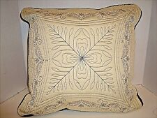 """Throw Pillow Sofa/ Bed Lt Green/Brown Embroidered/Quilted.17"""" x17"""" x 6"""""""