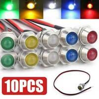 10xCar Boats 12V 8mm LED Indicator Light Bulbs Dash Dashboard Panel Warning Lamp