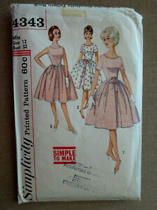 VINTAGE 1960's SIMPLICITY #4343 SEWING PATTERN, ONE-PIECE DRESS, SIZE 12 (CUT)