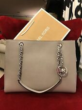 NWT MICHAEL KORS SAFFIANO LEATHER SUSANNAH LARGE TOTE BAG IN PEARL GREY