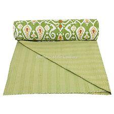 Bett über-wurf Kantha Patchwork Ethnisch Baumwolle Tages Decke Mehrfarbig Blumen