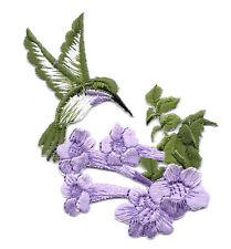 Hummingbird - Bird - Garden - Purple Flower - Iron On Applique Patch - Right