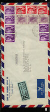 Hong Kong  registered cover to US  12 stamps  1962        KL0111
