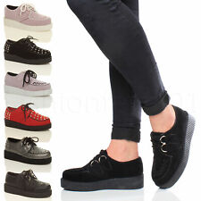 WOMENS LADIES FLAT PLATFORM FLATFORM WEDGE LACE UP PUNK CREEPERS SHOES SIZE