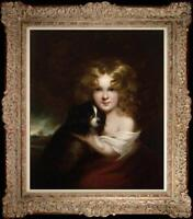 """Old Master-Art Antique Oil Painting Portrait girl dog on canvas 20""""x24"""""""