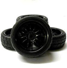 A250041BK 1/10 en la banda de rodadura carretera Suave V Coche RC ruedas y neumáticos x 4 Negro de 12 rayos