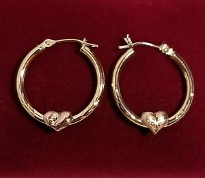 OR 10k Yellow Gold 20mm Hoop Earrings w/Rose Gold Puffy Hearts 0.94 grams