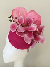 NEW pink fascinator with loops, orchid flowers on a headband!