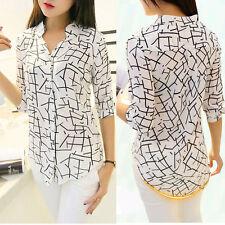 Lady Women's Chiffon Shirt Long Sleeve V Neck Formal Casual Blouse Shirt Tops