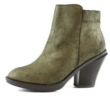 Kenneth Cole Womens High Idol Metallic Leather Green Ankle Boots Sz 6 3398 *