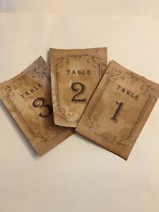 "Set of 15 Rustic tea- stained Table Numbers - Vintage Wedding decor. 4""x5 1/2""."
