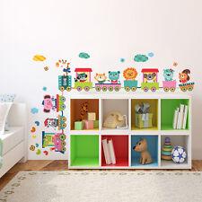 R00396 Wall Stickers Adesivi Murali Camerette Baby treno della giungla 120x30 cm