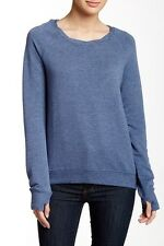 Heather by Bordeaux Zip Back Fleece Pullover Small Blue $129 NWT