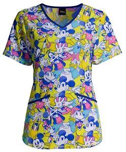 Disney Women's Minnie Mickey Scrub Top Pluto Donald Duck Goofy Daisy S-XL 2X 3X