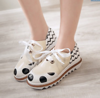 Brogue Ladies Vintage Lace Up Wing Tip Oxford College Style Flat Causal Shoes sz