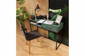 Modern, elegant dressing table, desk with one drawer, bottle green, black legs