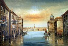 Venice Italy Cafe Gondola Wine St Marks Canal Pole Bridge Art Oil Painting