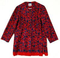 Leslie Fay Womens Flower Print Blouse Long Sleeve Shiny Reflective Oriental