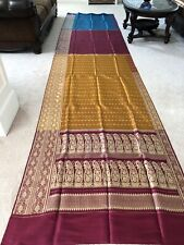100% Pure Silk Satin saree Maroon Mustard Turquoise Indian Sari Pure Zari Buti