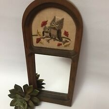 Small Hanging Decorative Mirror Wood Frame With Owl Embroidery Cute Crewel Owls