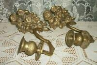 VINTAGE BRASS ROSES CANDLE WALL SCONCES FRENCH FARMHOUSE STYLE MID CENTURY