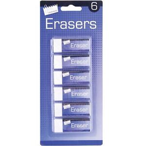 6 Quality White Soft Erasers Stationery School Office Pencil Rubber Party Gift