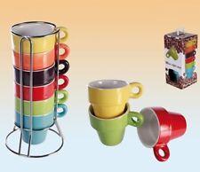 6er Set bunte Espressotassen in Ständer Tassen Kaffeetassen Becher Espresso