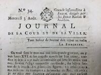 Rare Journal Royaliste 1791 Castelnaudary Aude Rouen Bordier Jourdain Louis XVI