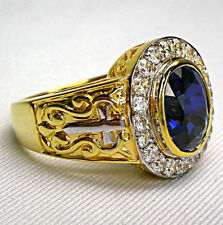 DIAMOND SAPPHIRE 14K YELLOW GOLD STERLING SILVER CHRISTIAN BISHOP RING MENS NEW