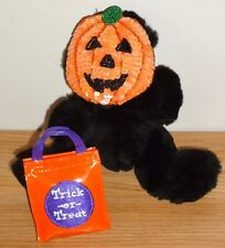 "Halloween Black Bear w/Sequined Pumpkin Mask & Trick or Treat Bag 8.5"" plush"