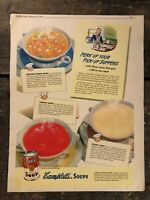 RARE Vintage 1942 Campbell's Soups Ad 11.5x15 inch WWII Era Tomato Soup FRAME IT