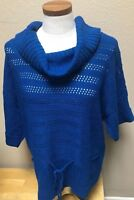 Kim Rogers Womens Sweater Blouse Blue Cowl Neck Extra Large