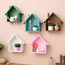 Nordic style Wooden Wall Decor Retro Village Small House Hanging Shelf