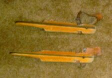 Old Wooden Dutch Ice Skates with Leather Straps, Made by Ampioensohaa