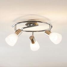 LED Deckenleuchte Kamiran E14 2700K Rondell Glas Edelstahl ELC Deckenlampe Flur