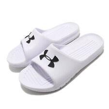 Under Armour Core PTH UA Logo White Black Men Sandals Slides Slipper 3021286-100